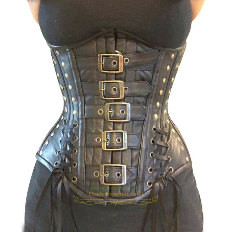Black Real Leather Lace up Back Real Steel Bones Under Bust Corset 2XS~7XL