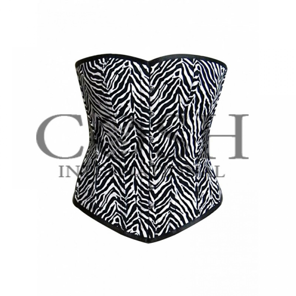 OVERBUST CORSET IN BLACK AND WHITE COTTON