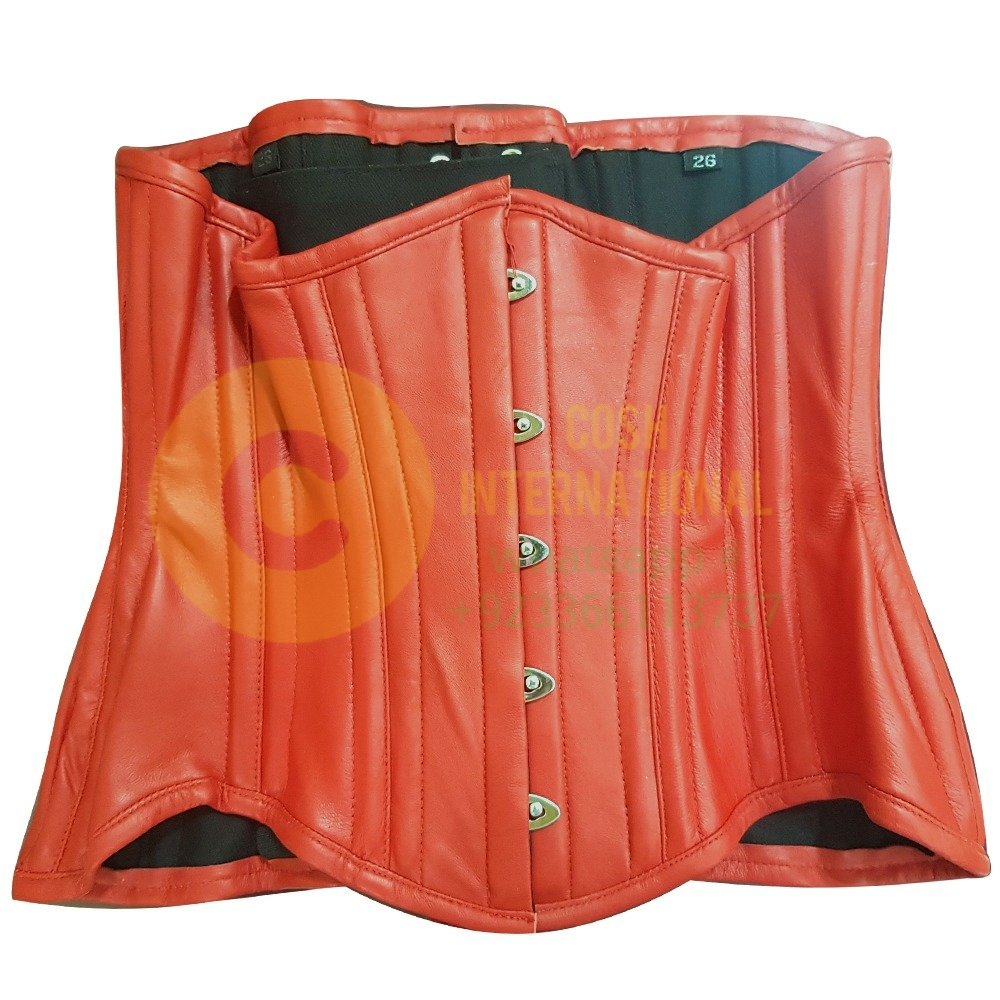 RED LEATHER UNDER-BUST SEXY WOMEN CORSET
