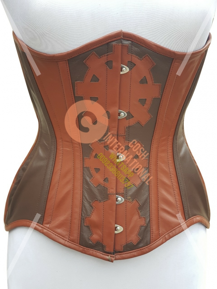 BROWN LEATHER HISTORICAL STEAMPUNK CORSET SUPPLIER