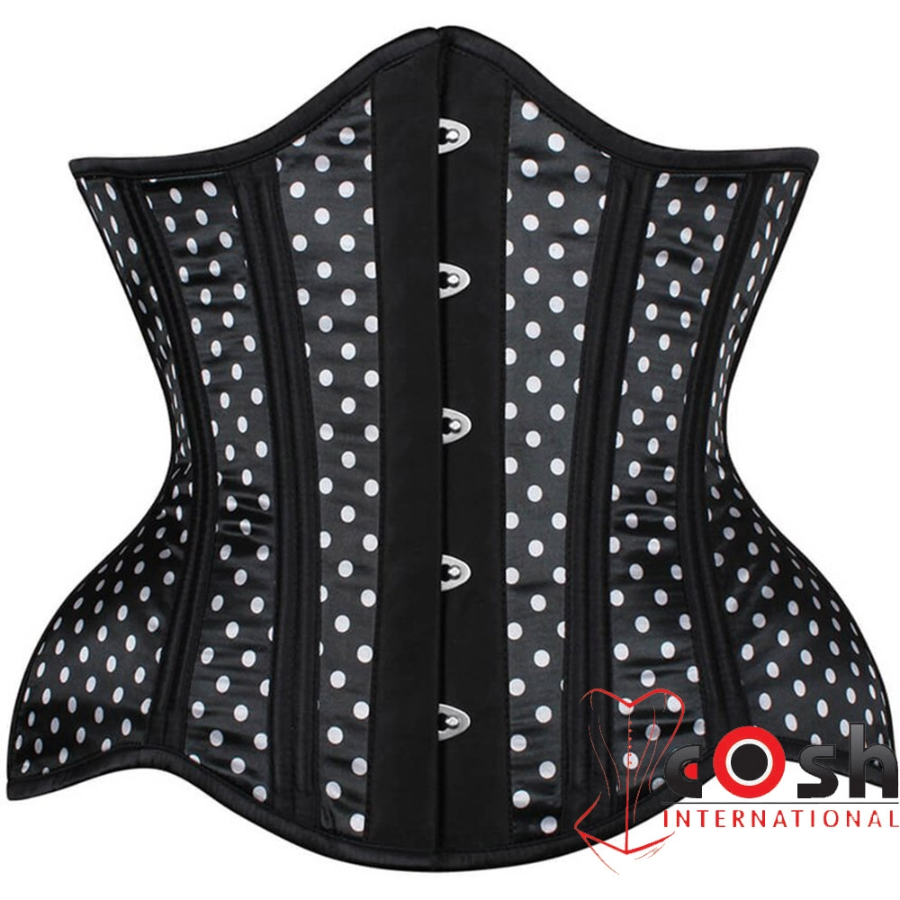 BLACK POLKA DOT SATIN STEEL BONED CORSET FOR CANADA FROM PAKISTAN